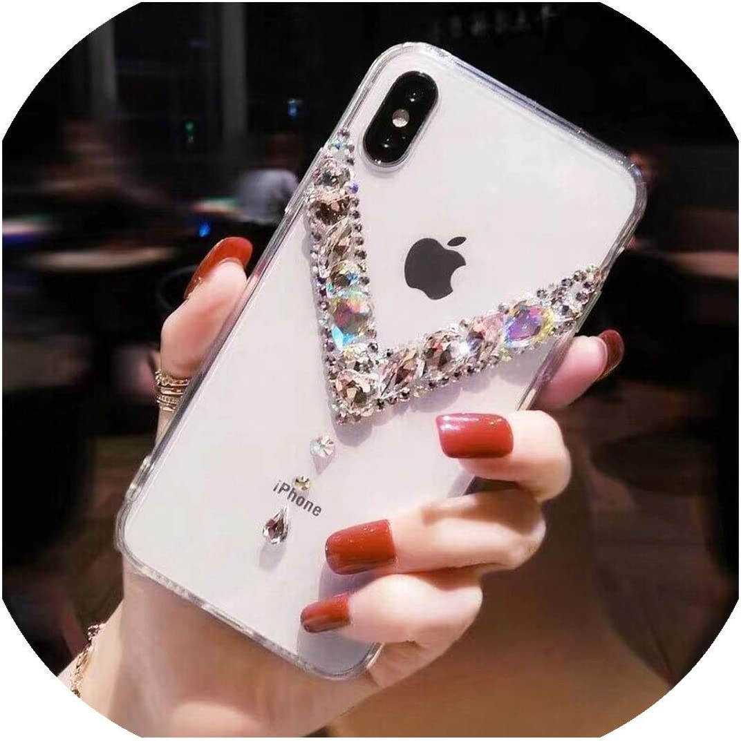 Phone case for iPhone Xs Max XR X 8 7 6 6S Plus Case Bling Rhinestone Diamond Crystal Soft Transparent TPU Cover for iPhone 11 Pro Max Case,for iPhone 6 6S Plus,D