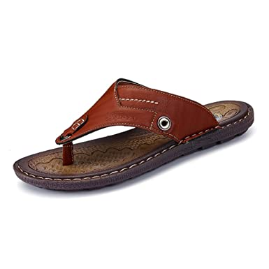 d5295177b2a9 Amazon.com  MUMUWU Men s Thong Flip Flops Beach Slippers PU Leather  Handwork Suture Non-slip Sole Sandals sandals guess  Clothing
