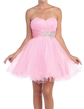 AiniDress Homecoming Dresses Short Ruched Sweetheart Strapless A Line Prom Dress Pink Size 10