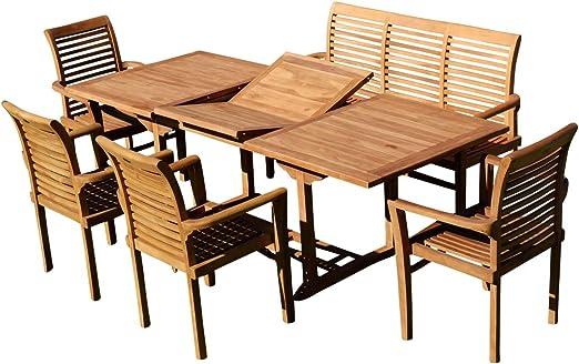 ASS JAV - Conjunto de Muebles de jardín (Madera de Teca, Mesa Extensible de 150-210 cm x 90 cm, 4 sillones alpinos, 1 Banco de 150 cm): Amazon.es: Jardín