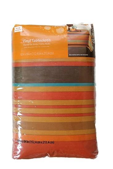 Vinyl Tablecloths Flannel Backed Autumn Multi Stripe Theme 60u0026quot; X  84u0026quot;