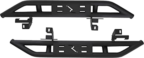 RAMPAGE PRODUCTS 26631 Textured Black Rail Side Rocker Guard Steps for 2018 Jeep Wrangler JL Unlimited 4-Door