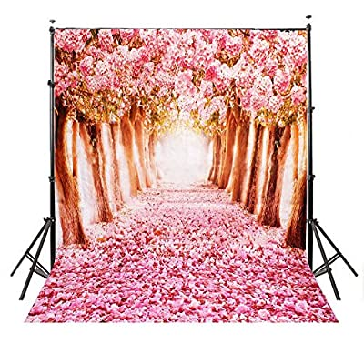 5x7ft Pink Romantic Cherry Blossoms Street Vinyl Backdrop Photography Prop Photo Background Sakura Flower Road Studio Prop Backdrops