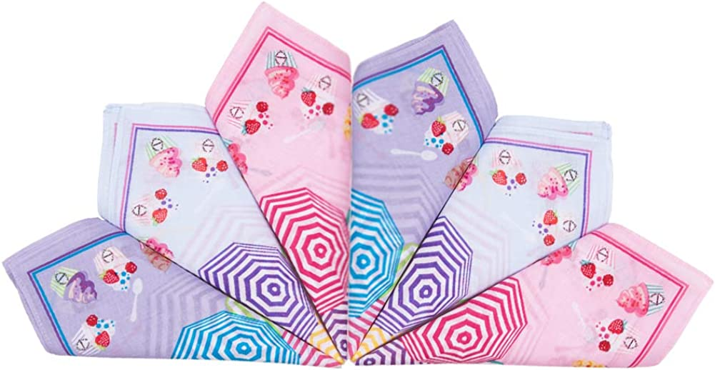 Houlife Girls Boys 100/% 60S Combed Cotton Handkerchiefs Cute Cartoon Funny Print Pattern Hankies for Kids Children Students 6//12 Pieces 33x33cm