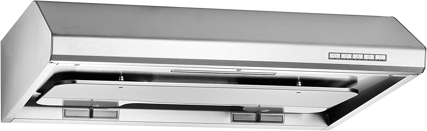 """SC81BS PACIFIC 30"""" FILTERLESS Under Cabinet Range Hood (MADE IN TAIWAN), 260° F STEAM CLEAN TECHNOLOGY , POWERFUL 900 CFM, Twin Motors, 3 Speed LED TOUCH control, USA BASED CUSTOMER SERVICE."""