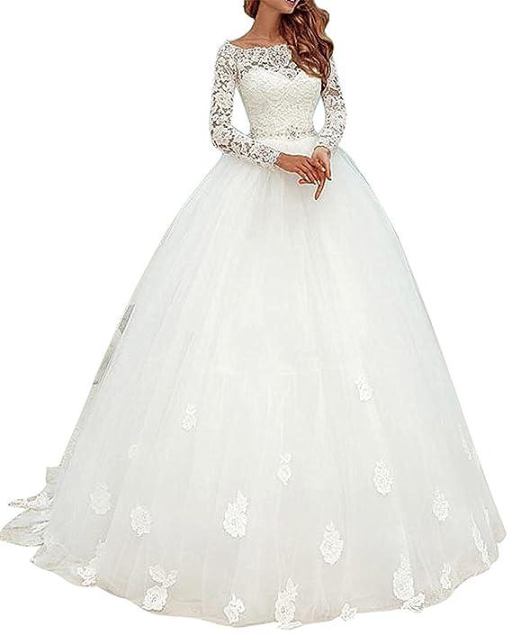 Cloverbridal Elegant Brautkleider Spitze Hochzeitskleider für Damen ...