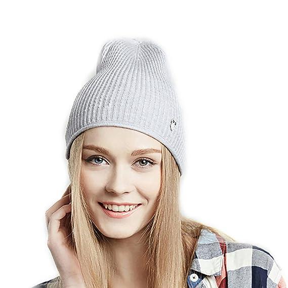URSFUR Bonnet Tricot Sans Pompon Coton Femme Fille Bonnet Jersey Printemps  Gris