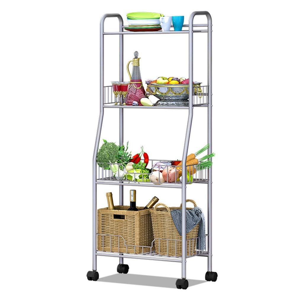 Baker's shelf 4-Tier Basket Microwave Stand Trolley Full-Metal Rolling Storage Cart With Lockable Wheels Shelves Utility Mesh For Kitchen Bathroom Used for spice rack organization workstation by Yuybei-Home