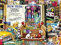 This 1000-piece jigsaw puzzle of new York city favorites, based on the artwork of Aimee Stewart, is bursting with iconic images from the city that never sleeps. You will find the statue of Liberty, Coney Island hot dogs, Subway signs, Broadwa...
