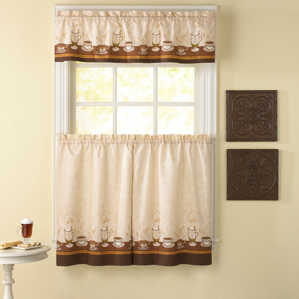Amazon.com: CHF Industries Cafe Au Lait 36 in. Kitchen Curtain Set ...