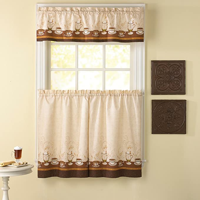 delightful Brown Tier Curtains Part - 11: Amazon.com: CHF Industries Cafe Au Lait 36 in. Kitchen Curtain Set: Home u0026  Kitchen