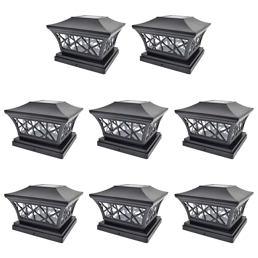 iGlow 8 Pack Black 6 x 6 Solar Post Light SMD LED Deck Cap Square Fence Outdoor Garden Landscape PVC Vinyl Wood