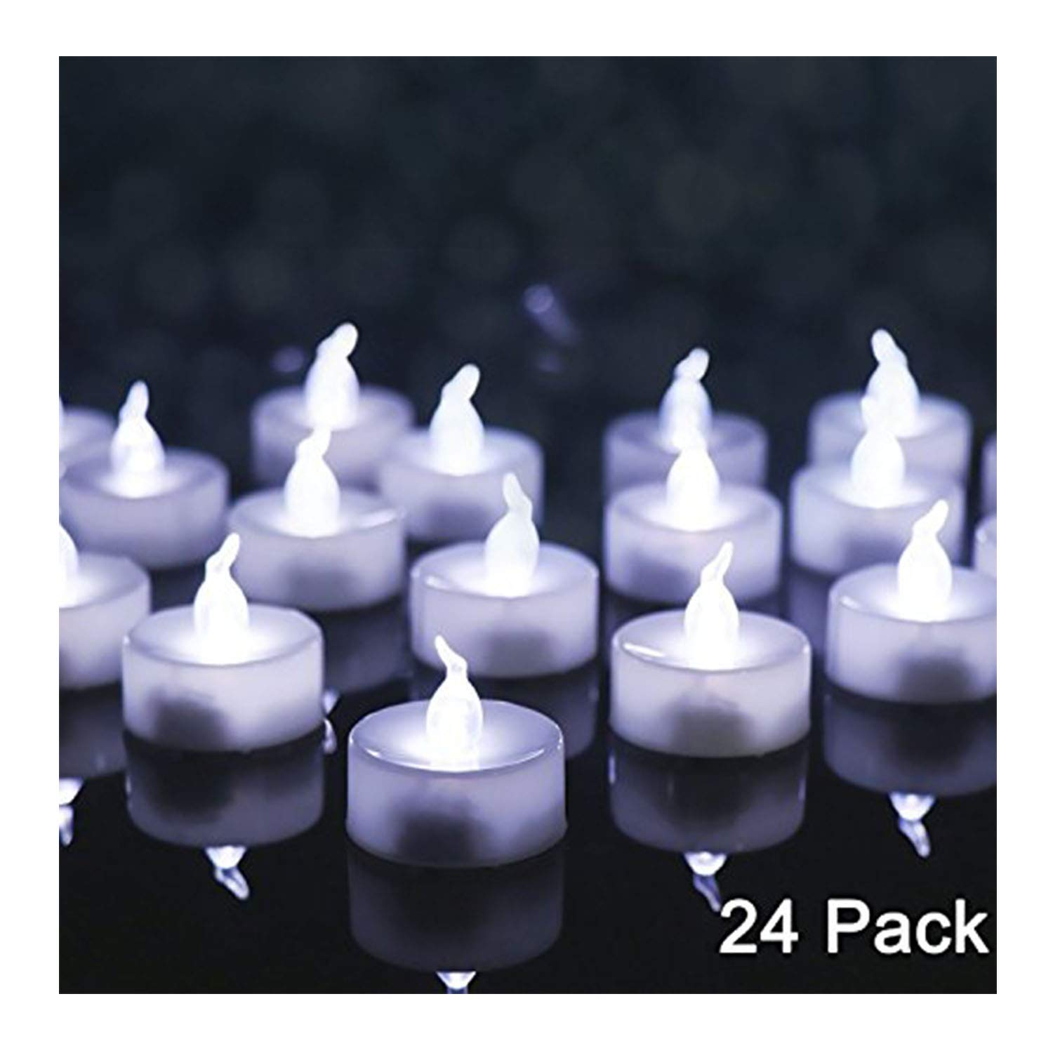 OMGAI 24 PCS LED Tea lights Candles Battery-Powered Small Bright Flickering Flameless Candles for Home Decoration White COMINHKPR77623