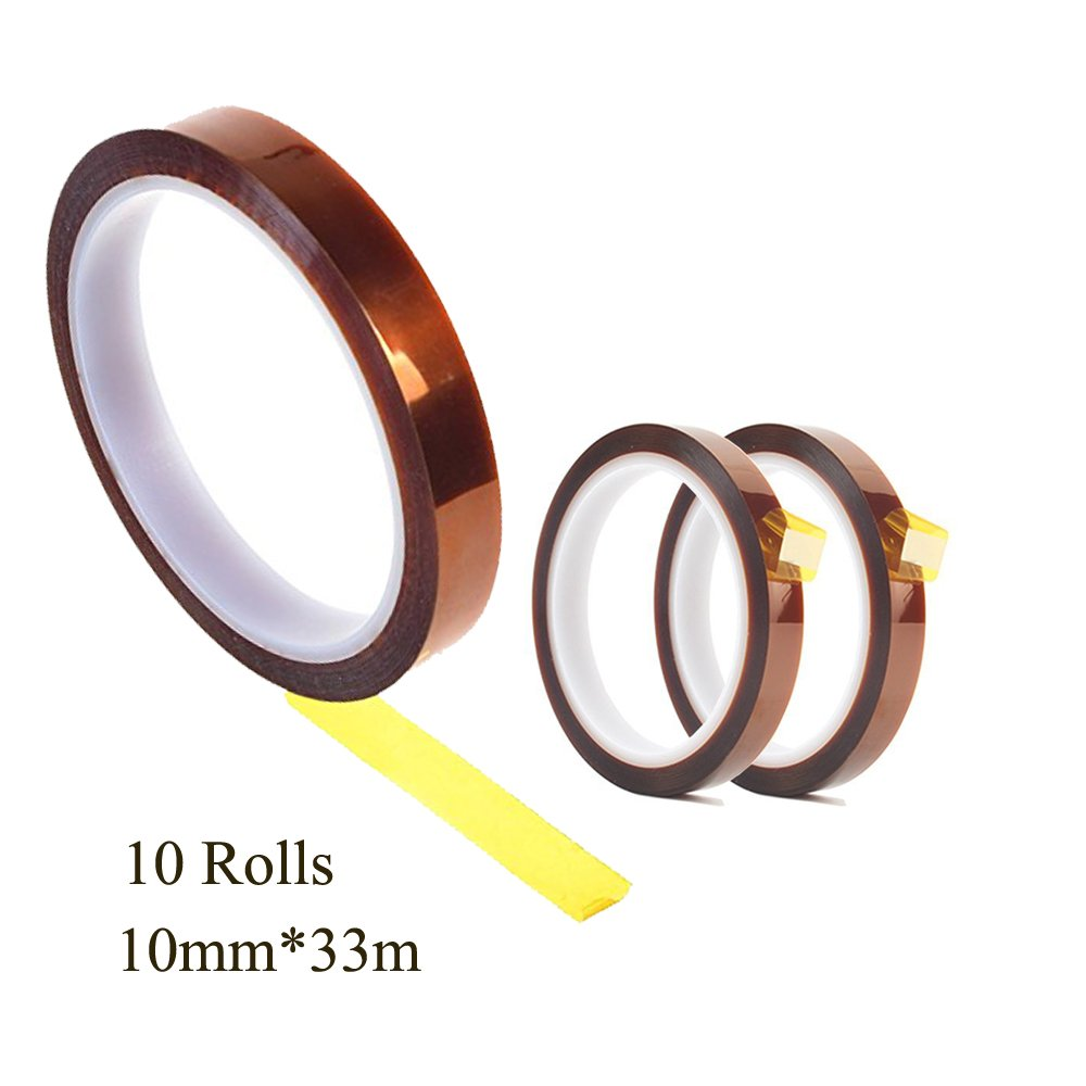 BossTop High Heat Resistant Tape 10 Rolls 10mmX33M 100ft High Temperature Polyimide Film Adhesive Tape