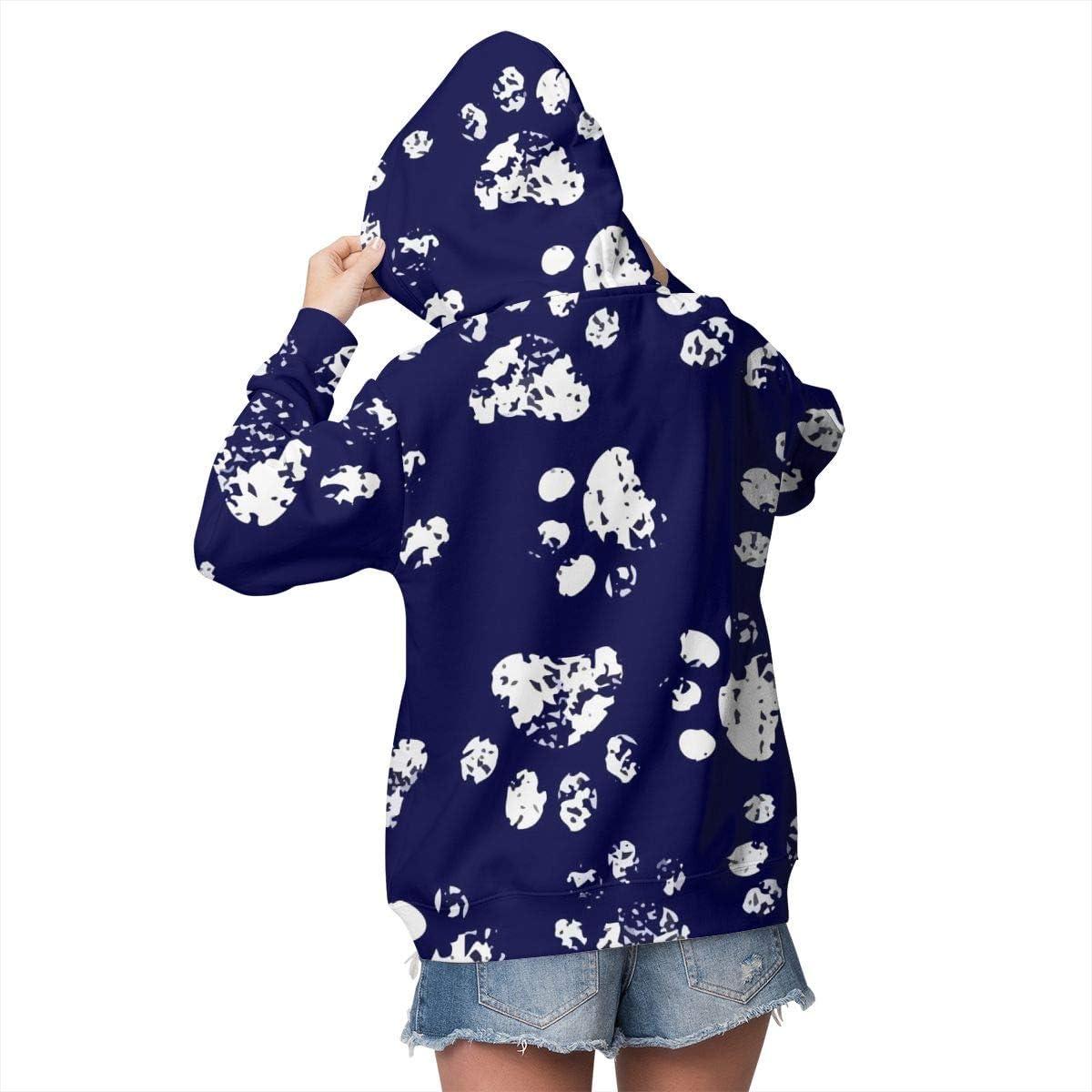 Paw Navy Womens Long Sleeve Pullover Hooded Sweatshirt Top Hoodie with Fleece Lining
