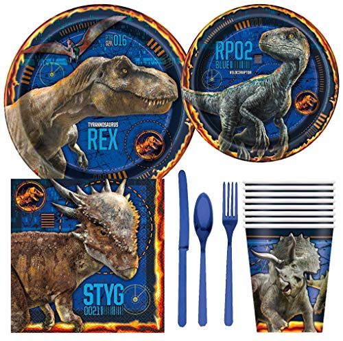 Jurassic World Fallen Kingdom Dinosaur Birthday Party Supplies Pack Including Cake & Lunch Plates, Cutlery, Cups & Napkins 8 Guests