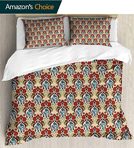 shirlyhome Red and Brown Print Comforter Quilt Set,Art Nouveau Style Pattern with Abstract Orchid Flowers Antique Ornamental with 1 Pillowcase for Kids Bedding 87