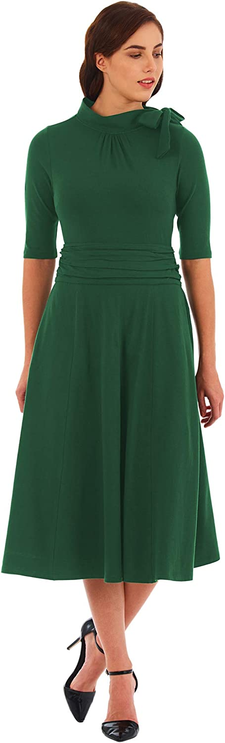 1940s Dresses | 40s Dress, Swing Dress eShakti Womens Bow tie Pleat Waist Cotton Knit Dress £48.95 AT vintagedancer.com