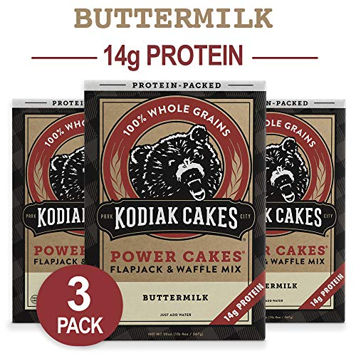 Kodiak Cakes Protein Pancake Power Cakes, Flapjack & Waffle Baking Mix, Buttermilk, 20 oz (Pack of 3) ()