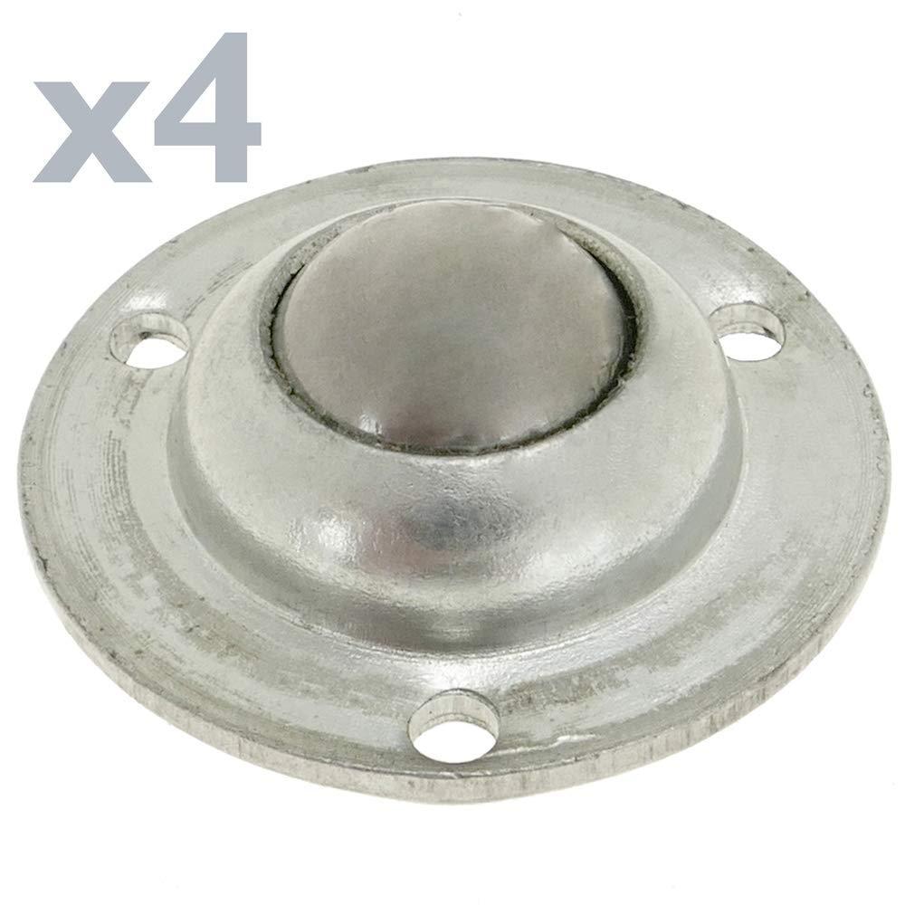 Rueda de Bola de Metal 14 mm para Puertas y Muebles 4 Pack PrimeMatik