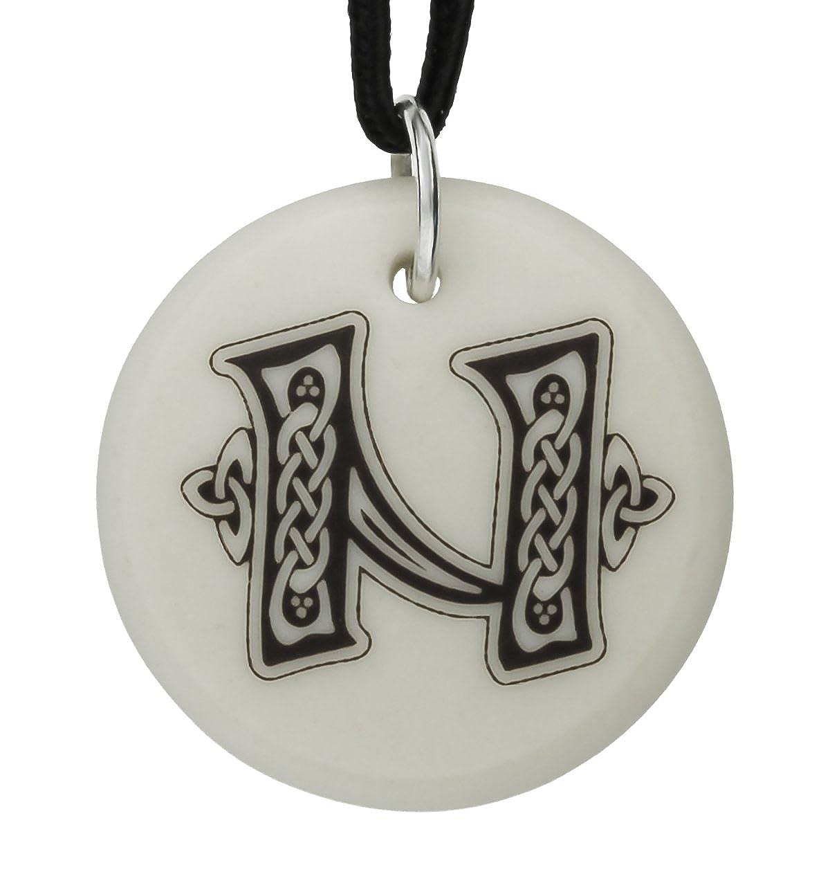 Letter N on Black Cord Handmade Celtic Initial Round Porcelain Pendant