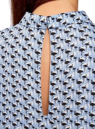 Col Bleu Femme Ultra oodji 7029g Basique Blouse Manches sans IvUzFxw0