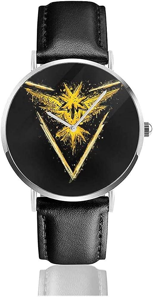 Go Instinct Monster of The Pocket Go Zapdoz Relojes Reloj de Cuero de Cuarzo con Correa de Cuero Negra para Regalo de colección