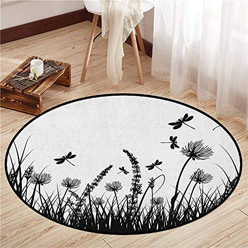 Indoor/Outdoor Round Rugs,Nature,Grass Bush Meadow Silhouette with Dragonflies Flying Spring Garden Plants Display,Anti-Slip Doormat Footpad Machine Washable,2'7
