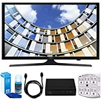 Samsung UN50M5300 Flat 50 1080p LED SmartTV (2017 Model) w/ Tuner Bundle Includes, HD Digital TV Tuner, SurgePro 6-Outlet Surge Adapter w/ Night Light, 6ft. HDMI Cable & Screen Cleaner For LED TVs