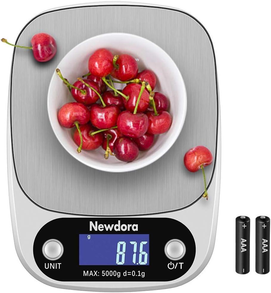 Newdora Báscula Digital para Cocina de Acero Inoxidable con Pantalla LCD Balanza de Alimentos, con función de tara, sistema de sensor de alta precisión escala digitalColor Plata (Baterías Incluidas)
