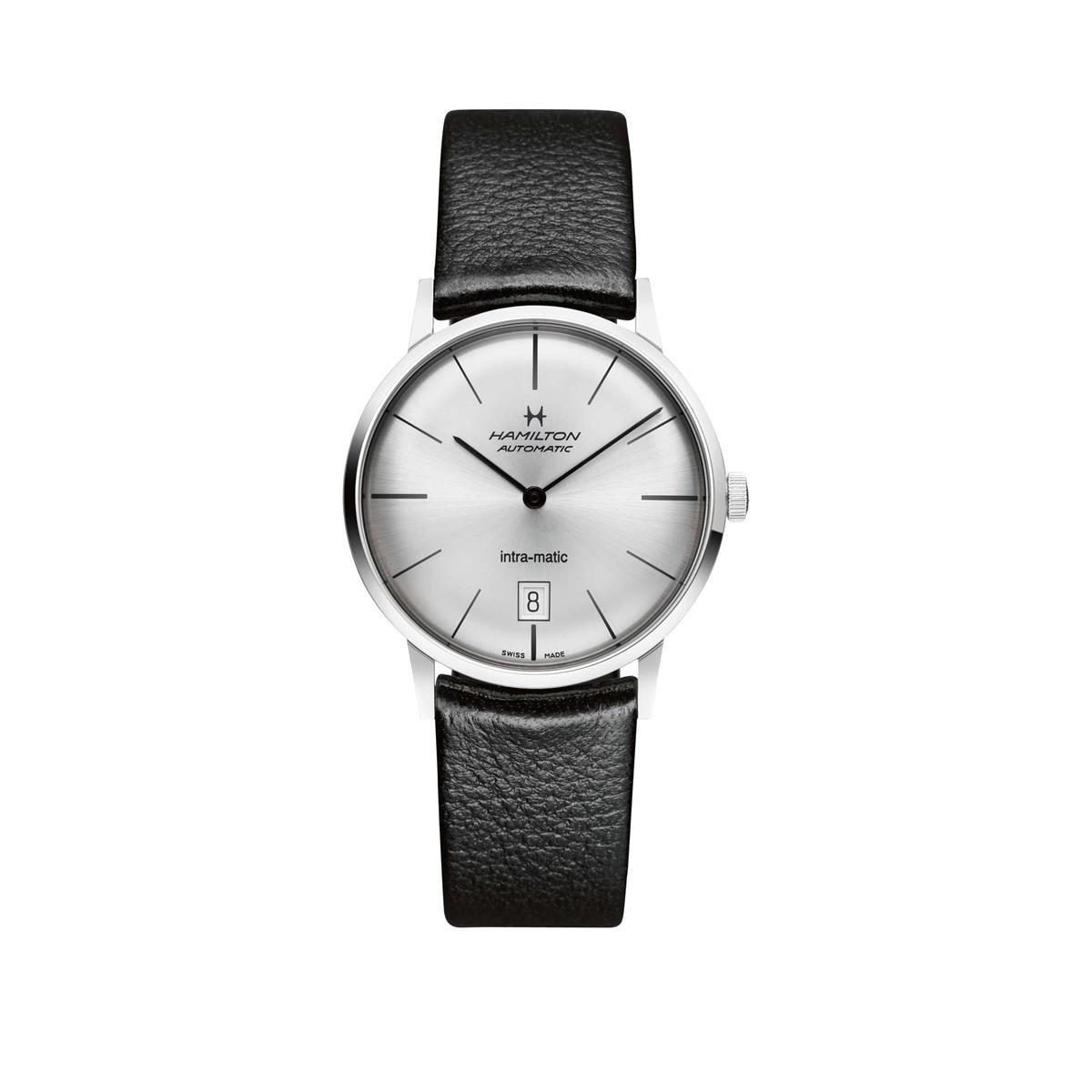 dca0428dc Amazon.com: Hamilton Intra-Matic Black Dial Leather Mens Watch H38455751:  Hamilton: Watches