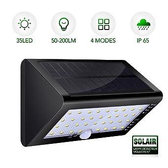 Lampe Solaire Detecteur de Mouvement - 4000mA Super Grande Capacité ...