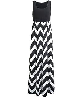 Luojida Sommerkleid Damen Maxikleid Strandkleider Damen Lang Partykleid  Maxi Kleider mit Zackenmuster Elegant f0390557e0