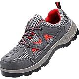 Zapatos de Seguridad Mujer Hombre Zapatos de Trabajo Gorra con Punta de Acero Zapatillas Antideslizantes Senderismo