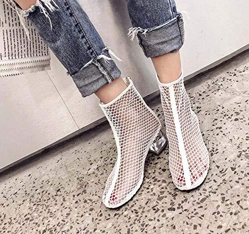 Größe Garn Knöchel Mamrar Stiefel Schuhe Chunkly Mesh 34 Roma EU Bootie Net Hollow Crystal Boots 40 Heel Coole Dress Frauen 5Cm ASqU6