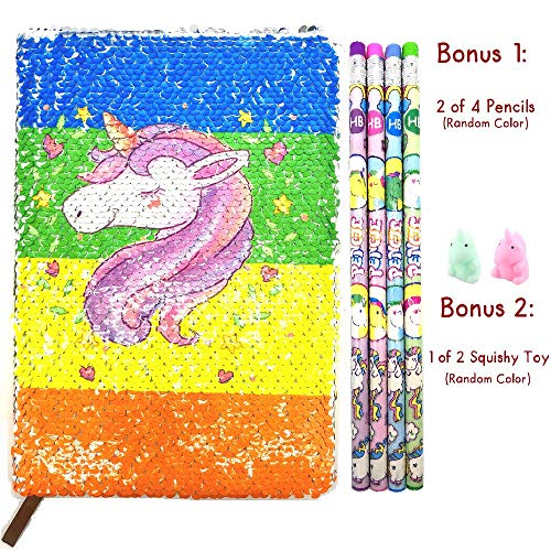 Lovhome Unicorn Composition Notebook Set Rainbow Diary, Schedule Book with 2 x Unicorn Pencils and 1 x Unicorn Squishies Toy (Random Color) -
