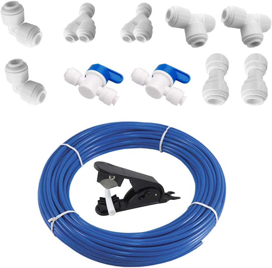 PureSec 3/8 Inch Blue RO Tubing 16 Feet Push to Connect Fitting Combo for RODI System(Ball Valve+T+Y+L+I+Tubing Cutter DIY Package)