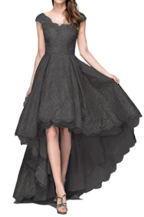 HONGFUYU Cheap Black High Low Prom Dresses Vintage Sexy Black Lace Cheap Strapless Bridesmaid Dress for