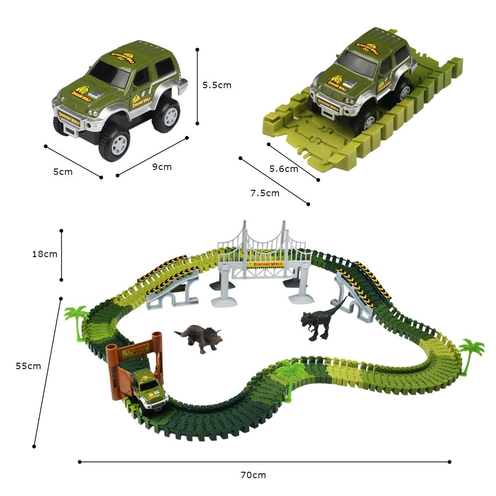 Autobahn Spielzeug Car Track mit Electric Auto Dinosaurier Autorennbahnen für Kinder 3 4 5,220CM Länge
