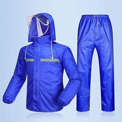Regenbekleidung Herren Damen Wasserdicht Set Herren Wasserdicht Regenmantel Jacke Mantel Hose Unterteile Set Anzug Arbeit Camping Angeln Color Blue A Size S Küche Haushalt