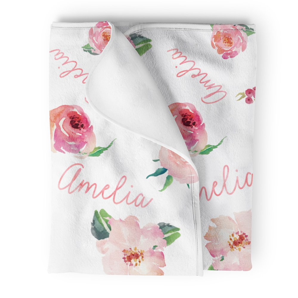 Lovable Gift Co Personalized Fleece Baby Girl Blanket, Coral Pink Floral