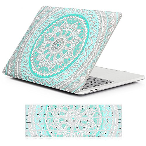 iCasso New Macbook Pro 15 Case 2017&2016 Release A1707 Rubber Coated Hard shell Protective For Newest Macbook Pro 15 Inch with Touch Bar and Touch ID With Keyboard Cover (Blue&White Medallion)