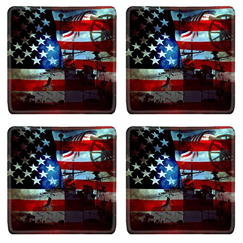 Battle Flag Square (Luxlady Square Coasters IMAGE ID 5151777 Battle damaged old glory flag and military war equipment)