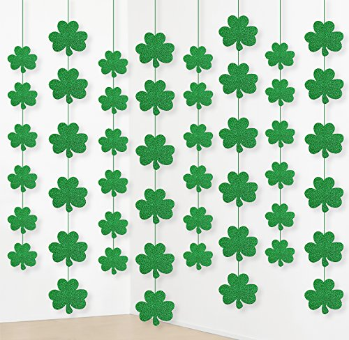 jollylife 12PCS St. Patrick's Day Shamrock Decorations - Lucky Irish Party Hanging Ornaments Garland ()