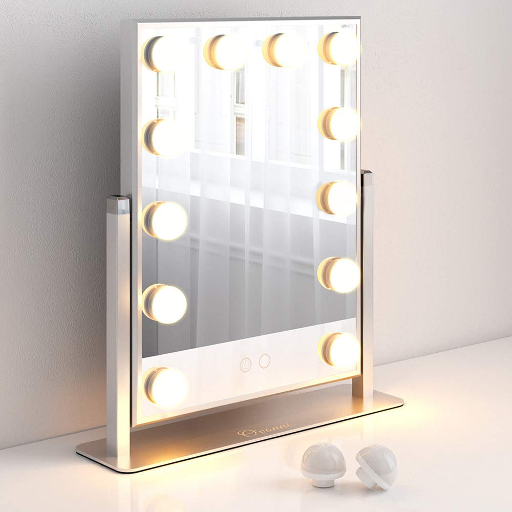 Ovonni Vanity Makeup Hollywood Mirror with 12 Detachable LED Bulbs and 2 Replacement Bulbs 2 Colors Touch Control Dimmable Brightness 360° Rotating for Bedroom Dressing Table(12 bulbs, Sliver)