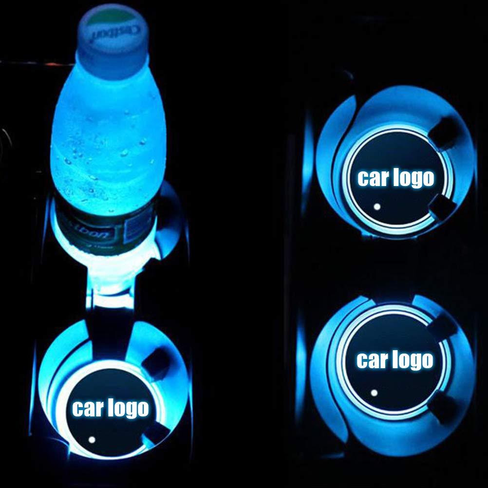 pour bouteilles lampe dambiance de voiture /étanche 7 couleurs changeantes tapis de chargement USB Lot de 2 sous-verres LED avec logo de voiture boissons dessous de verre int/égr/é