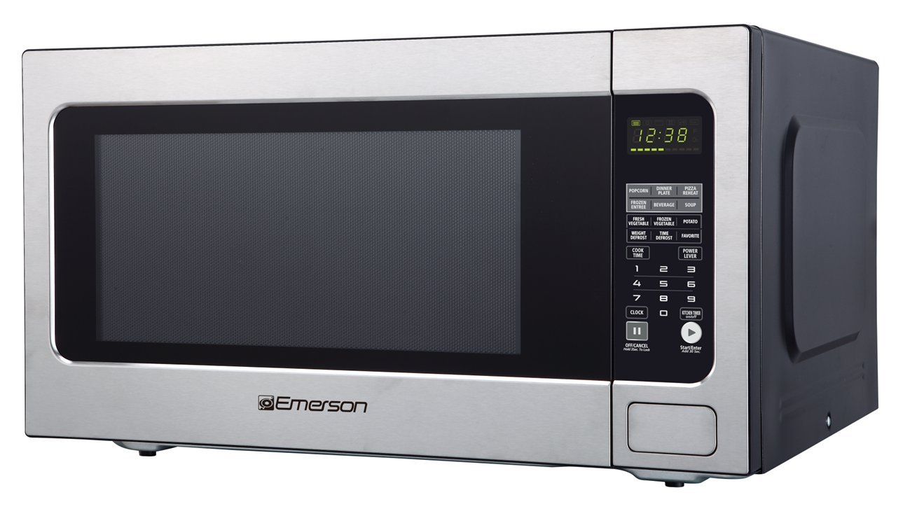 Emerson ER105003 2.2 cu. ft. 1200W, Sensor Cooking Touch Control, Counter Top Microwave Oven, Stainless Steel