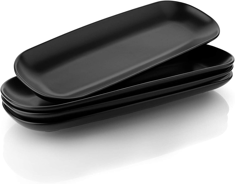 Teocera Porcelain Serving Platter Set, Serving Plates - 15.5 Inches, Serving Trays for Appetizers, Dessert, Food, Parties - Large - Set of 4, Matte Black