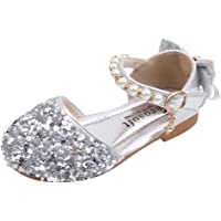 Toddler Girls Sparkle Glitter Party Dress Shoes Low Heel Pearl Crystal Bowknot Mary Janes Shoes Infant Princess Shoes Wedding Shoes Dancing Ballroom Latin Shoes