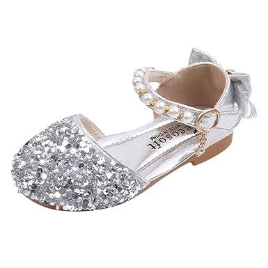 Scarpe da Ragazza Glitter Glitter Tacco Basso Sandali Bambina Sandalo Bambino Eleganti Scarpe Bimba Estive Scarpe da Principessa Scarpe per Bambine